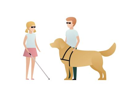 Vector blind character people flat illustration. A pair of kid in glasses with stick and guide dog standing isolated on white background. Modern design element for social care service, guidance
