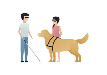 Vector blind character people flat illustration. A pair of kid in glasses with stick and guide dog standing isolated on white. Modern design element for social care service, guidance, friendship Illustration