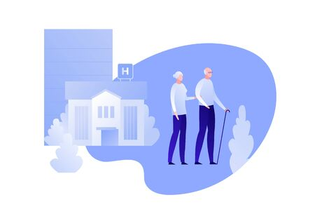 Vector flat modern hospital patient character illustration. Couple of elderly walking from hospital building isolated on white background. Design element for nursing clinic, health care, medicine