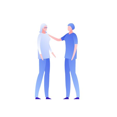 Vector flat modern doctor and patient character illustration. Doctor in blue uniform talking and take care of old female isolated on white. Design element for nursing clinic, health care, medicine