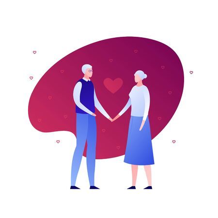 Vector flat modern old couple character illustration. Senior male and elderly female holding hands with heart symbol isolated on white background. Design element Concept of romantic love, relationship