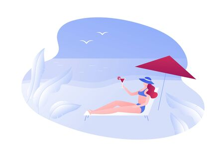 Vector modern flat web beach travel illustration. Young female laying on deckchair under umbrella holding cocktail on island seascape background. Design element for advertisment, banner, web, ad. Vettoriali