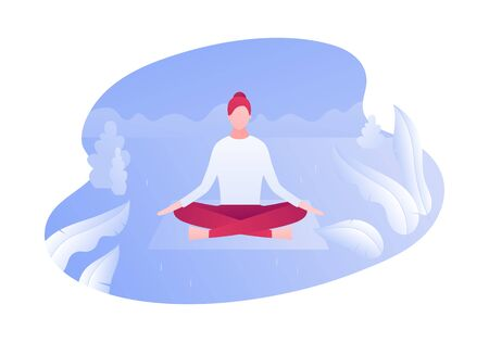 Vector modern flat outdoor meditation character illustration. Young woman meditate sitting in yoga lotus on park background. Concept of relaxation in nature. Design element for banner, poster, web.