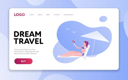 Vector modern flat web beach travel banner template. Young female laying on deckchair under umbrella holding cocktail on fluid background. Design for website, poster, advertisment, ad, card. Vettoriali