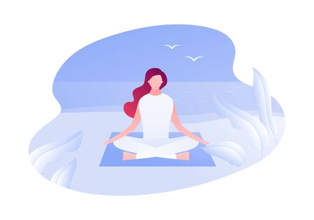 Vector modern flat outdoor meditation character illustration. Young woman meditate sitting in yoga lotus on beach background. Concept of relaxation in nature. Design element for banner, poster, web. 일러스트