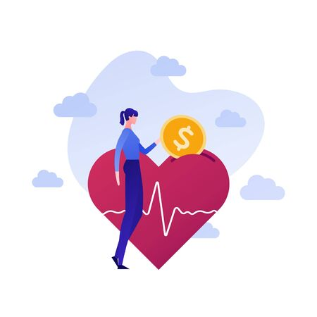 Vector flat charity money people illustration. Female donate coin to heart shape donation box. Concept of social care, insurance healthcare, protection. Design background element for banner, poster