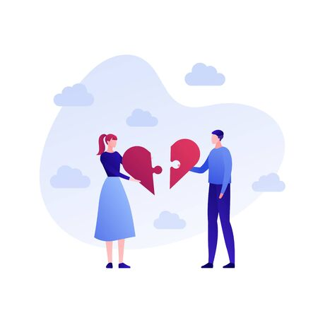Vector flat family love people illustration. Male and female connect jigsaw puzzle hearts on sky background. Concept of romatic holiday. Design element for banner, poster, valentine, greeting card.