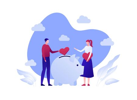 Vector flat charity money people illustration. Family donate heart sign to donation box. Concept of social care, responsobility, protection, love. Design background element for banner, poster