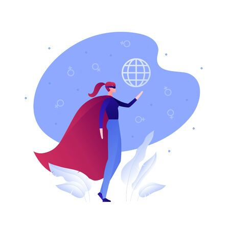 Illustration vectorielle d'autonomisation de femme plate. Femmes de super-héros en casquette avec signe mondial mondial sur fond de ciel. Concept de féminisme, superwoman. Élément de design pour bannière, affiche, web, infographie.