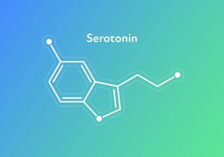 Vector hormones gradient banner template. Seratonin (5-HT) structure on blue to green background. Hormone assosiated with happines feeling, depression. Design for science, education, presentation