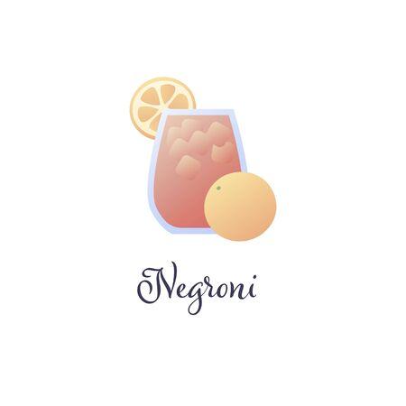 Vector modern flat cocktails illustration. Red negroni cocktail in glass with orange slice symbol isolated on white. Design element for logo, alcoholic beverage menu, ad, restaurant, cafe