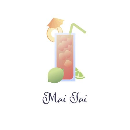 Vector modern flat cocktails illustration. Mai tai cocktail in glass with umbrella, straw and fruit slice isolated on white. Design element for logo, alcoholic beverage menu, ad, restaurant, cafe