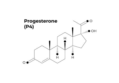Vector hormones minimalistic banner template. Black progesterone structure isolated on white background. Hormone assosiated with pregnancy. Design for science, education, presentation.