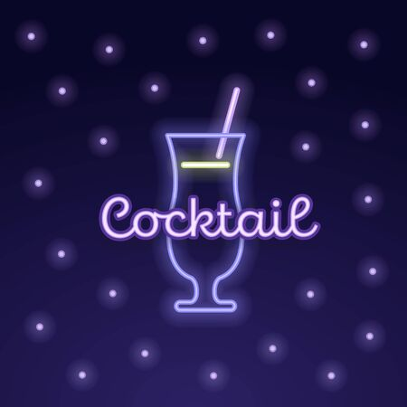 Vector modern neon light cocktail party banner template. Pink glass with straw symbol and bubbles isolated on gradient background. Design pack element for alcoholic beverage menu, ad, restaurant, cafe Illustration