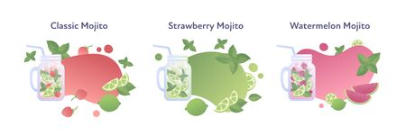 Vector modern flat mojito cocktail banner template illustration set. Color fluid shapes and fruits symbol glass with drink isolated on white. Design element for alcoholic menu, ad, restaurant, cafe.
