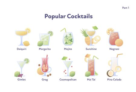 Vector modern flat cocktail illustration set. Collection of colorful fashion alcoholic cocktails in glasses icons isolated on white background. Design element for menu, bar, restaurant, poster, banner