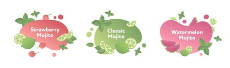 Vector modern flat mojito cocktail banner template illustration set. Fluid shape red and green color and fruits symbol isolated on white. Design element for alcoholic menu, ad, restaurant, cafe.