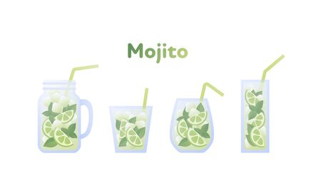 Vector modern flat mojito cocktail illustration set. Green color glass with classical mohito drink with text isolated on white. Design element for alcoholic beverage menu, ad, restaurant, cafe. Illustration