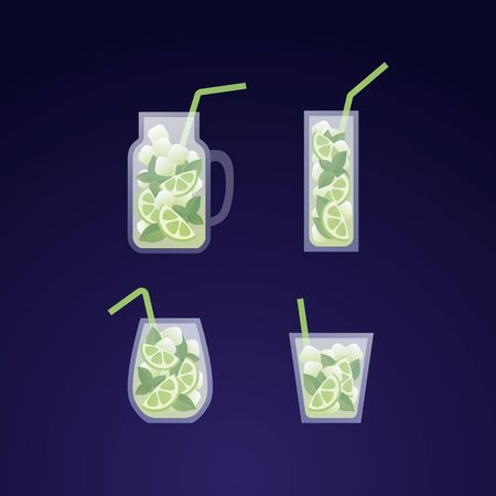 Vector modern flat mojito cocktail illustration set. Glass with classical green mohito drink isolated on gradient blue background. Design element for alcoholic beverage menu, ad, restaurant, cafe.