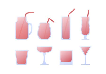 Vector modern flat cocktail icon set. Glasses with straw and pink fluid isolated on white background. Design collection of element for alcoholic beverage menu, ad, restaurant, cafe.