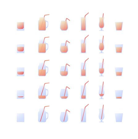 Vector modern flat cocktail icon set. Glasses with straw and pink fluid from empty to full isolated on white background. Design collection of element for alcoholic beverage menu, ad, restaurant, cafe.
