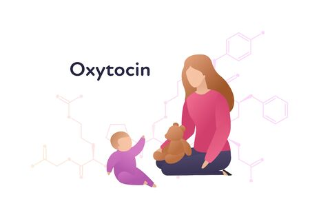 Vector hormones flat character banner template. Oxytocin structure with trendy style female plaing with baby on white. Hormone assosiated with bonding, care, love. Design for education, presentation. Ilustração
