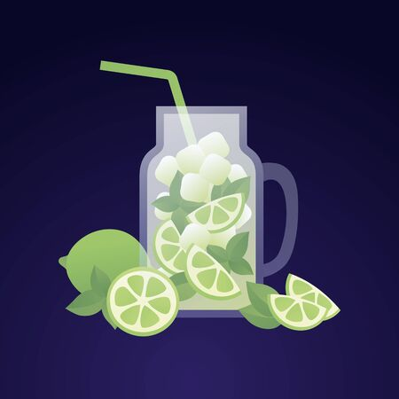 Vector modern flat mojito cocktail illustration. Decanter with green lime, mint and ice drink isolated on gradient blue background. Design element for alcoholic beverage menu, ad, restaurant, cafe.