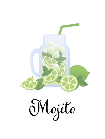 Vector modern flat mojito cocktail illustration. Glass with straw, green lime, mint and ice drink isolated on white with black text. Design element for alcoholic beverage menu, ad, restaurant, cafe.