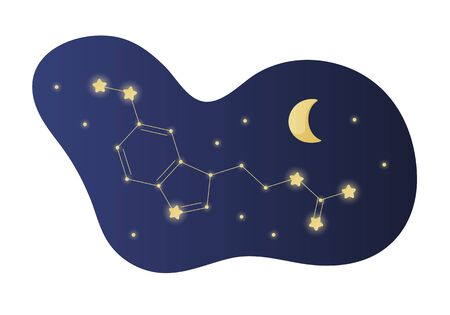 Vector modern melatonin treatment banner template. Blue gradient shape with night sky illustration formula like constellation isolated on white background. Concept of sleep disorder treatment.