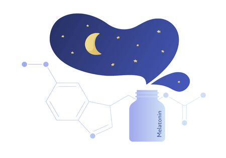 Vector modern melatonin treatment banner template. Blue gradient night sky illustration and hormone structure and drug bottle isolated on white. Concept of sleep disorder treatment, good dream. Ilustrace