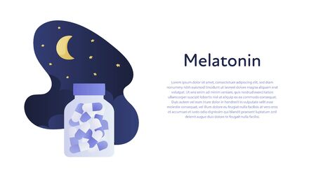 Vector modern medication banner template. Blue gradient color fluid shape night sky illustration with bottle of pills isolated on white background and text holder. Concept of sleep disorder treatment.