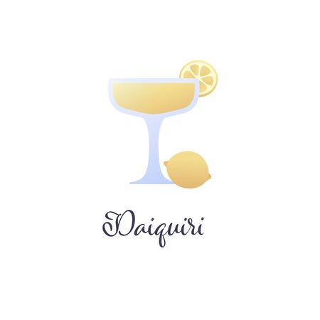 Vector modern flat cocktails illustration. Yellow daiquiri cocktail in glass with lemon slice symbol isolated on white background. Design element for alcoholic beverage menu, ad, restaurant, cafe.