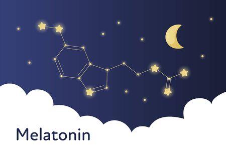 Plantilla de banner de tratamiento de melatonina moderno de vector. Ilustración de cielo azul degradado con estructura de molecula en constelación aislada sobre fondo blanco. Concepto de tratamiento de trastornos del sueño. Ilustración de vector