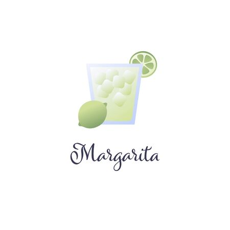 Vector modern flat cocktails illustration. Green margarita cocktail in glass with lime slice symbol isolated on white background. Design element for alcoholic beverage menu, ad, restaurant, cafe.