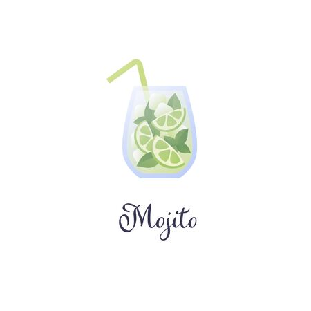 Vector modern flat cocktails illustration. Green moito cocktail in glass with straw symbol isolated on white background. Design element for logo. alcoholic beverage menu, ad, restaurant, cafe.