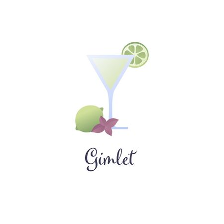 Vector modern flat cocktails illustration. Green gimlet cocktail in glass with lime slice and cinnamon symbol isolated on white background. Design element for alcoholic menu, ad, restaurant, cafe. Illustration
