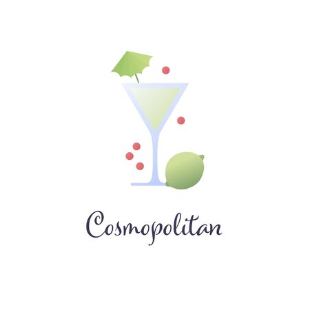 Vector modern flat cocktails illustration. Green cosmopolitan cocktail in glass with umbrella isolated on white background. Design element for logo, alcoholic beverage menu, ad, restaurant, cafe.