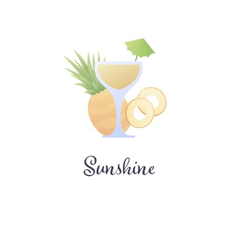 Vector modern flat cocktails illustration. Yellow sunshine cocktail in glass with umbrella and pineapple slice isolated on white. Design element for logo, alcoholic beverage menu, ad, restaurant, cafe Illustration