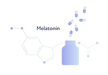 Vector modern melatonin treatment banner template. Blue gradient bottle of pills and hormone structure isolated on white. Concept of sleep disorder treatment, sweet easy dream.