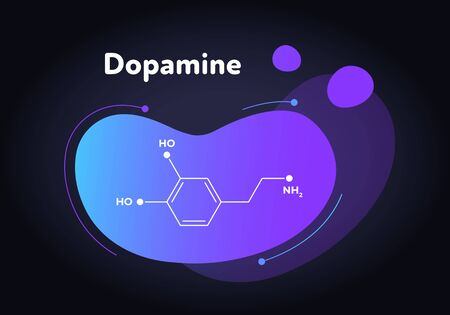 Vector hormones fluid modern banner. Dopamine structure in liquid gradient shape on black. Hormone associated with aged brain disease, addiction, cognitive function. Design for presentation, poster. Illustration