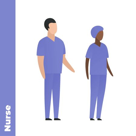 Trendy flat medical character vector cartoon illustration. Set of male and female black and white nurse team. Blue nursery uniform. Common department. Concept of caregiver personel. Illustration