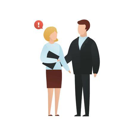 Ilustración de dibujos animados de vector de personaje de acoso plano de moda. Concepto de acoso sexual. El hombre toca a una mujer con la mano aislada sobre fondo blanco. Signo de burbuja de conversación de advertencia roja