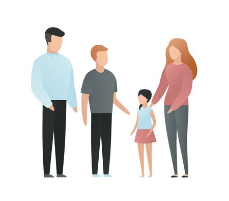 Trendy flat family character vector cartoon illustration. Set of mother, father, brother and sister isolated on white background. Concept of big family, love, relationship. Design elements.
