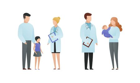 Trendy flat doctor and patient character vector cartoon illustration. Male and female pediatrician talking with parents and childs isolated on white. On picture coat uniform, girl, baby on hands. Vector Illustration