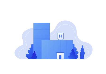 Vector modern flat hospital landscape illustration. Blue gradient color buildings with tree in fluid shape frame isolated on white background. Design element for medicine banner, template, report, web Standard-Bild - 134024427
