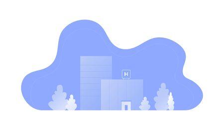 Vector modern flat hospital landscape illustration. Blue gradient color buildings with tree in fluid shape frame isolated on white background Design for medicine banner, template, report, web, app, ui Standard-Bild - 134024431