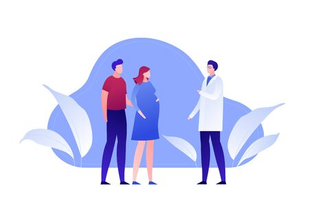 Vector modern flat family planning illustration. Male and pregnant female consulting doctor about pregnancy on blue fluid shape background. Design element for banner, poster, clinic, infographics.