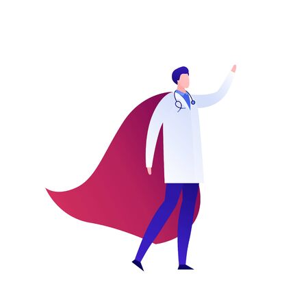 Vector modern flat superhero person illustration. Male doctor in uniform cloak with red cape standing isolated on white background. Design element for medical banner, healthcare poster, clinic.