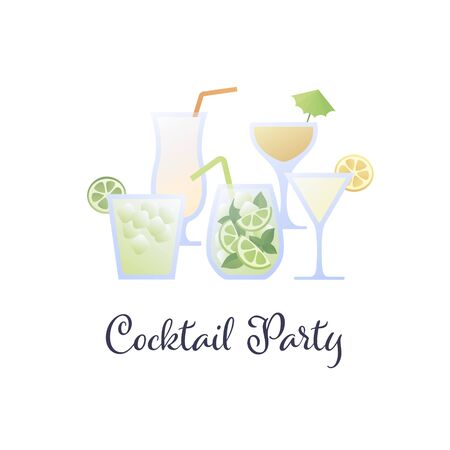 Vector modern flat cocktail party banner illustration template. Set of color alcoholic cocktails in glasses icons isolated on white background. Design element for menu, bar, restaurant, poster, banner