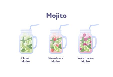 Vector modern flat mojito cocktail illustration set. Color glasses with classical, watermelon, strawberry drink isolated on white. Design element for alcoholic beverage menu, ad, restaurant, cafe.